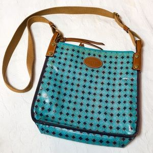 Fossil teal turquoise treated canvas crossbody bag